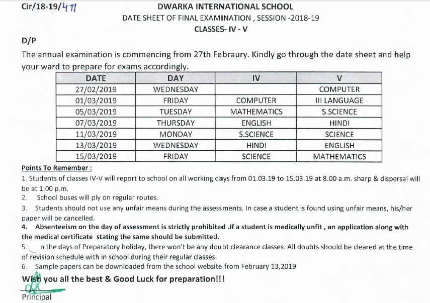 Date Sheet CLass IV and V