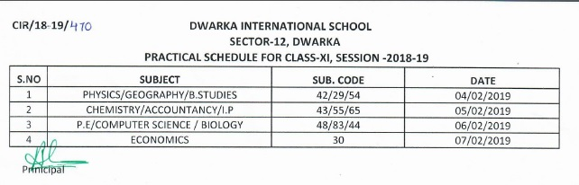 Practica Date sheet Class XI
